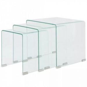 Set mese suprapuse, sticla calita transparenta, trei piese - V244190V