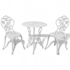 Set mobilier bistro, 3 piese, alb, aluminiu turnat - V42165V
