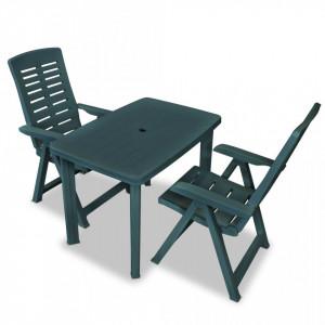 Set mobilier bistro, 3 piese, verde, plastic - V275078V