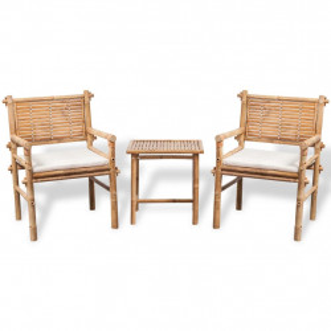 Set mobilier bistro cu perne, 3 piese, bambus - V41892V