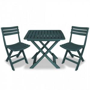 Set mobilier bistro pliabil, 3 piese, verde, plastic - V43582V