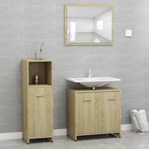 Set mobilier de baie, 3 piese, stejar Sonoma, PAL - V3056910V