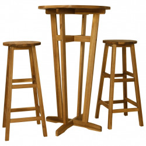 Set mobilier de bar, 3 piese, lemn masiv de salcam - V44010V