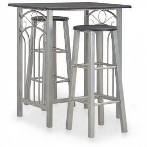 Set mobilier de bar, 3 piese, negru, lemn si otel - V284396V