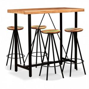 Set mobilier de bar 5 piese lemn masiv acacia si lemn reciclat - V275131V