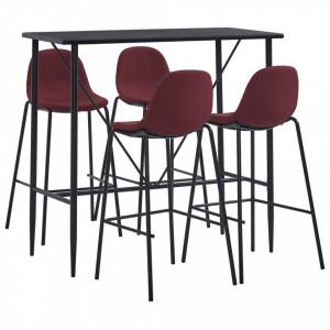 Set mobilier de bar, 5 piese, rosu vin, material textil - V3051298V