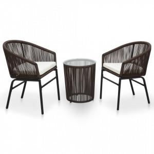 Set mobilier de bistro cu perne, 3 piese, maro, ratan PVC - V48139V