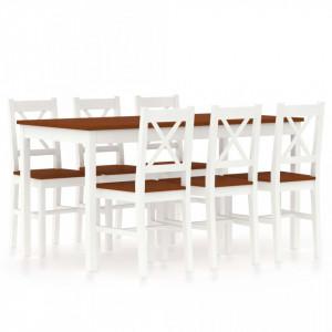 Set mobilier de bucatarie, 7 piese, alb si maro, lemn de pin - V283378V