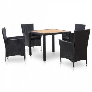 Set mobilier de exterior cu perne, 5 piese, negru, poliratan - V46025V