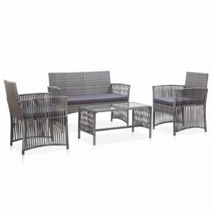 Set mobilier de gradina cu perne, 4 piese, antracit, poliratan - V46437V