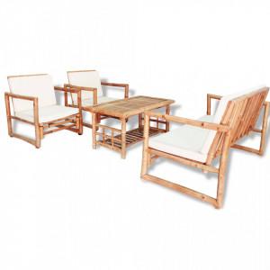 Set mobilier de gradina cu perne, 4 piese, bambus - V43159V
