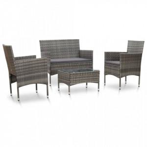 Set mobilier de gradina cu perne, 4 piese, gri, poliratan - V45812V