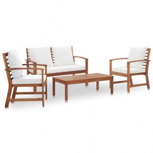 Set mobilier de gradina cu perne, 4 piese, lemn masiv de acacia - V47283V