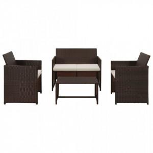 Set mobilier de gradina cu perne, 4 piese, maro, poliratan - V43908V