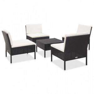 Set mobilier de gradina cu perne, 5 piese, negru, poliratan - V48944V