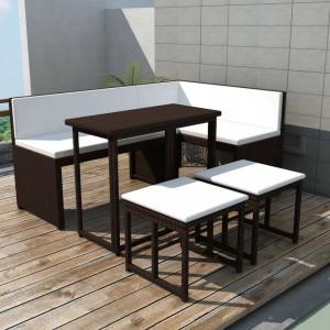 Set mobilier exterior pliabil, 5 piese, maro, otel, poliratan - V42879V