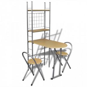 Set mobilier tip bar pliabil pentru micul dejun cu 2 scaune - V241032V