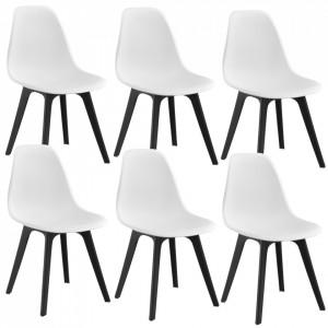 Set sase bucati scaune design Axa, 83 x 54 x 48 cm, plastic, alb/negru - P58616405