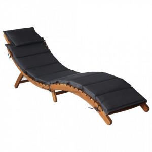 Sezlong cu saltea, gri inchis, lemn masiv acacia - V46651V