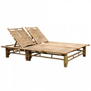Sezlong de plaja pentru 2 persoane, bambus - V43715V