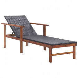Sezlong, negru, poliratan si lemn masiv de acacia - V48706V