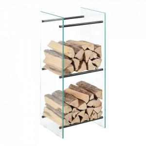 Suport lemne foc Oshawa Glas, 40x100x35cm, otel/sticla securizata, transparent/negru - P71901952