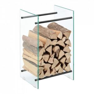 Suport lemne foc Oshawa Glas, 40x60x35cm, otel/sticla securizata, transparent/negru - P71901950