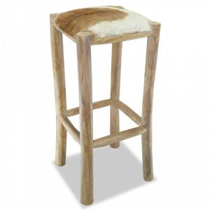 Taburet de bar, piele naturala si lemn masiv de tec - V244544V