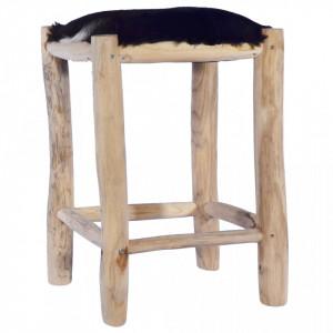 Taburet de bar, piele naturala si lemn masiv de tec - V288810V