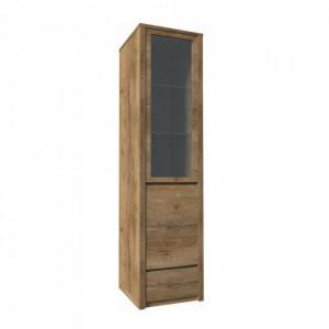 Vitrină cu un sertar şi uşi împărţite pline şi cu sticlă, stejar lefkas închis, MONTANA W1D