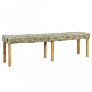 Banca, 160 cm, ratan kubu natural & lemn masiv de mango - V285795V