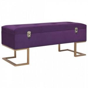 Bancheta cu un compartiment de depozitare violet 105cm catifea - V247572V