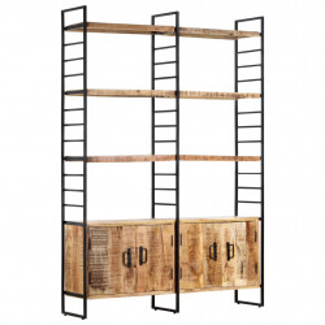 Biblioteca cu 4 rafturi, 124x30x180 cm, lemn de mango nefinisat - V284418V