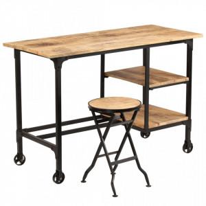 Birou cu scaun pliabil, lemn masiv de mango, 115 x 50 x 76 cm - V245261V