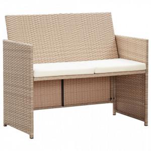 Canapea de gradina cu perne, 2 locuri, bej, poliratan - V46396V