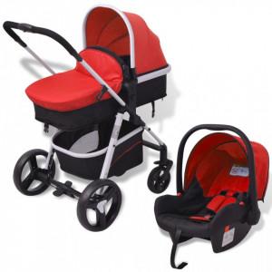 Carucior pentru copii 3-in-1, rosu si negru, aluminiu - V10114V