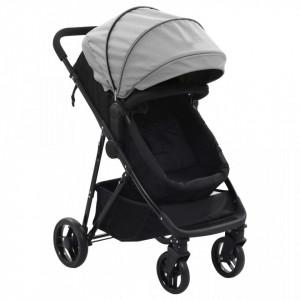 Carut/landou pentru copii 2-in-1, gri si negru, otel - V10161V