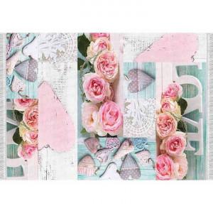 Covor 120x180 cm, model trandafiri, multicolor, SONIL TYP 2