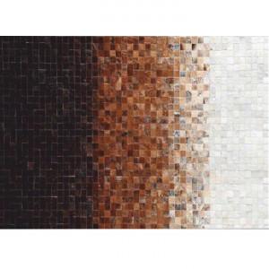 Covor de lux din piele, alb/maro/negru, patchwork, 170x240, PIELE DE VITĂ TYP 7