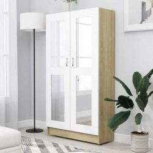 Dulap cu vitrina, alb&stejar Sonoma, 82,5 x 30,5 x 150 cm, PAL - V802764V