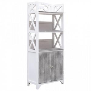Dulap de baie, alb si gri, 46 x 24 x 116 cm, lemn de paulownia - V284107V