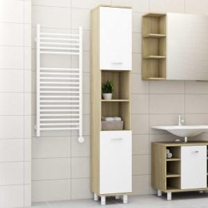 Dulap de baie, alb si stejar Sonoma, 30 x 30 x 179 cm, PAL - V802629V