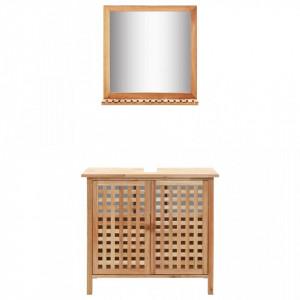 Dulap de chiuveta cu oglinda, lemn masiv de nuc - V247607V