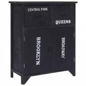 Dulap lateral, negru, 60 x 30 x 75 cm, lemn de paulownia - V284106V