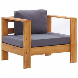 Fotoliu de gradina cu perna, gri inchis, lemn masiv de acacia - V47275V