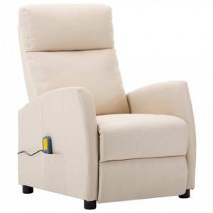 Fotoliu rabatabil de masaj, crem, material textil - V289715V