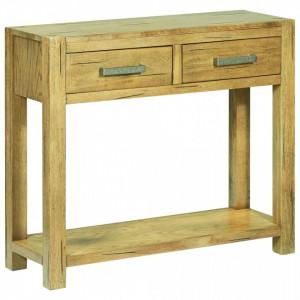 Masa consola, 83 x 30 x 73 cm, lemn de stejar rustic - V284267V