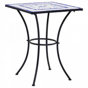 Masa de bistro mozaic, albastru si alb, 60 cm, ceramica - V46706V