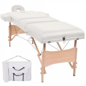 Masa de masaj pliabila cu 3 zone, 10 cm grosime, Alb - V110152V