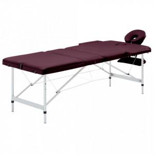 Masa de masaj pliabila cu 3 zone, violet, aluminiu - V110198V
